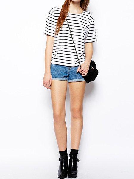 White Spandex Casual T-Shirt