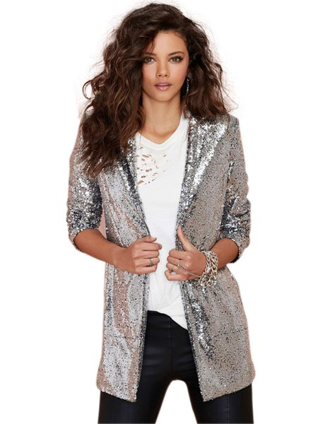 Silver Casual Glitter-finished Blazer