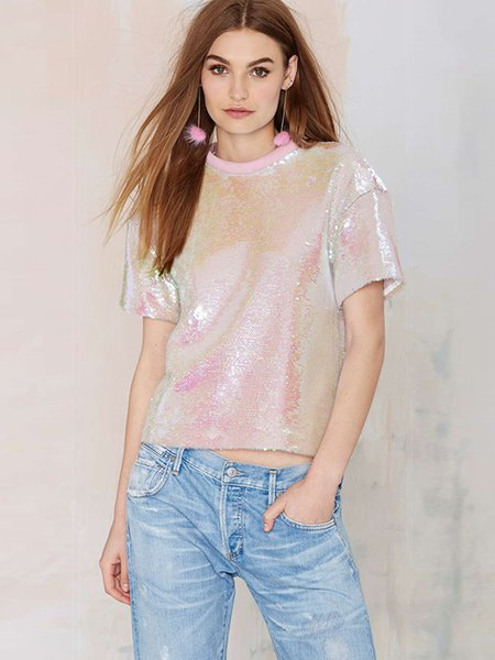 Pink Solid Glitter-finished H-line Short Sleeve Going Out Top