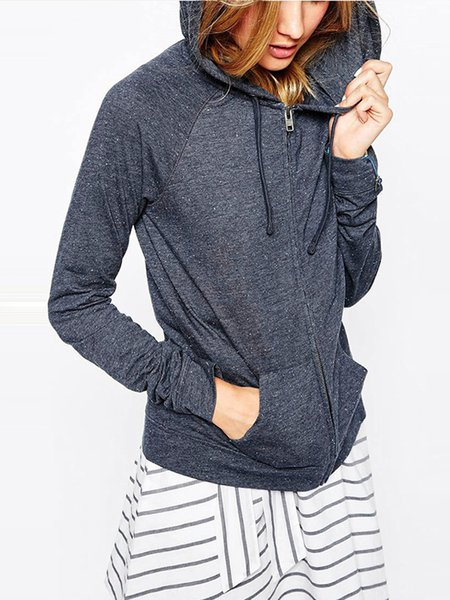 Gray Long Sleeve Zipper Pockets Hoodie Jacket