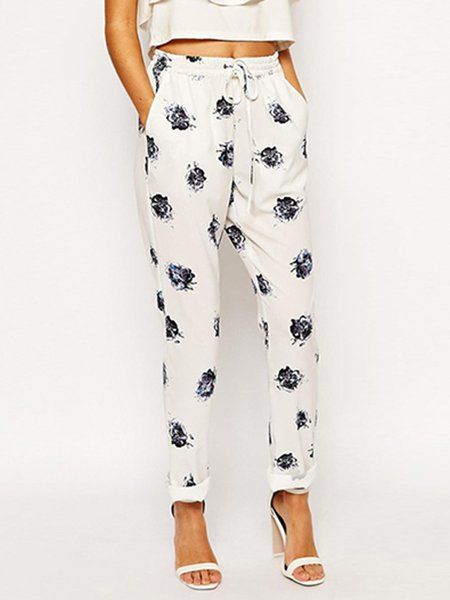 White Casual Shirred Printed Straight Leg Pants