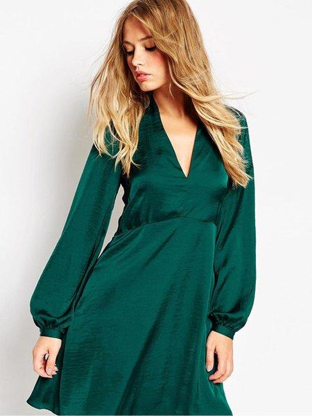 Green A-line V Neck Long Sleeve Mini Dress