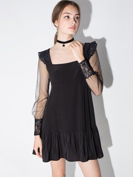Black Casual Square Neck Mesh Paneled Mini Dress