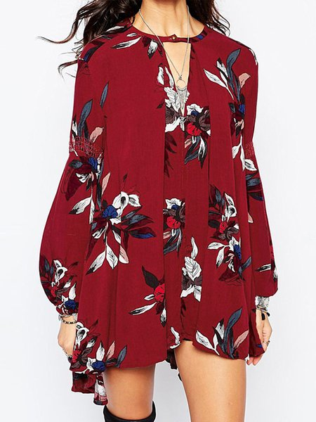 Keyhole Long Sleeve Boho Floral Printed Boho Mini Dress
