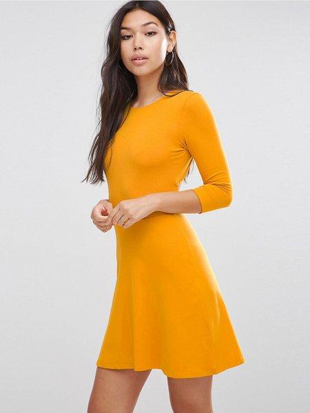 Yellow Cutout Sexy A-line Mini Dress