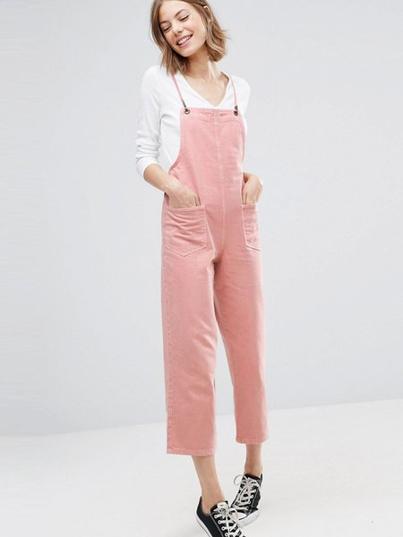 Pockets Solid Spaghetti Girly Jumpsuit