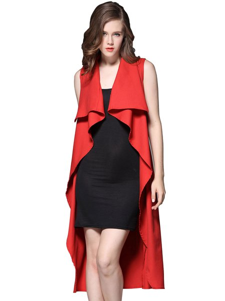 Folds Casual Asymmetrical Solid Sleeveless Coat With Belt