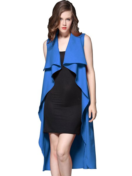 Folds Solid Asymmetrical Sleeveless Coat With Belt