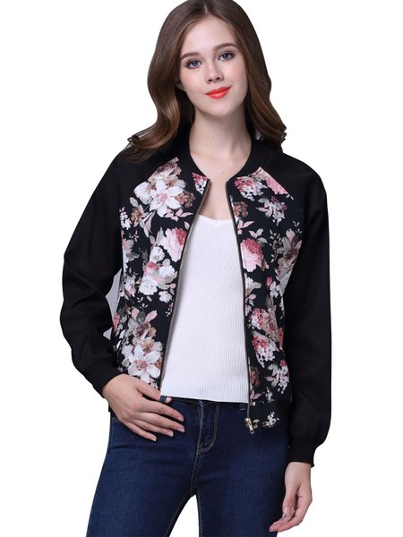 Black Casual H-line Floral-print Cropped Jacket
