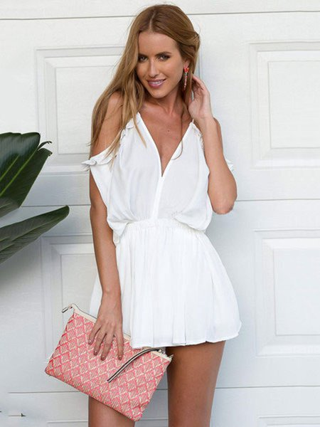 Solid Gathered A-line Casual Beach Romper