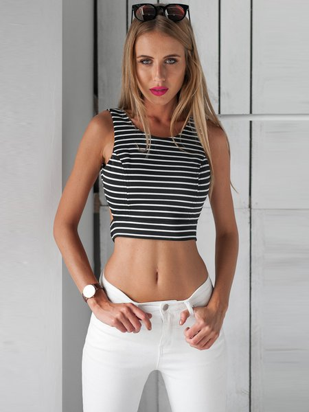 Black H-line Crew Neck Stripes Casual Backless Cropped Tank Top
