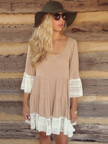 Casual Long Sleeve Lace Paneled H-line Dress