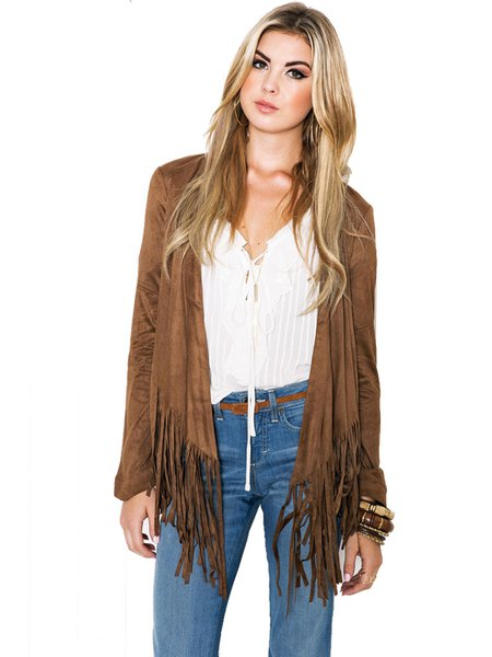 Casual Solid Long Sleeve Fringed Open Front H-line Coat