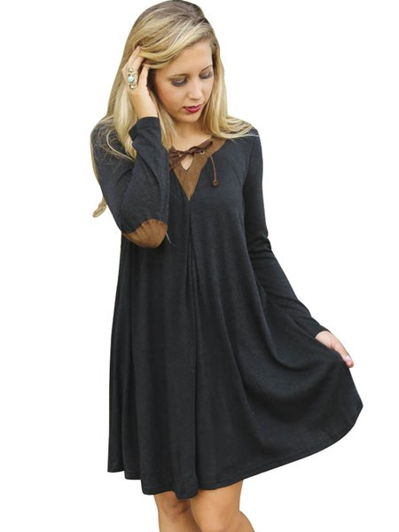 Black Long Sleeve Lace Up A-line Casual Dress