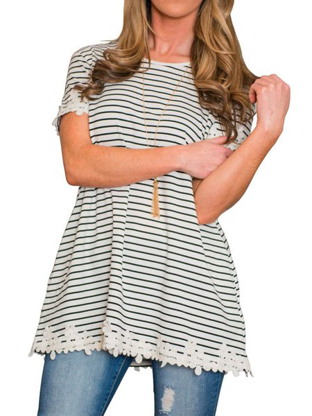 White Short Sleeve Stripe Print Lace Trimmed H-line Casual Top