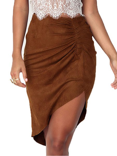 Khaki Asymmetrical Casual Gathered Skirt