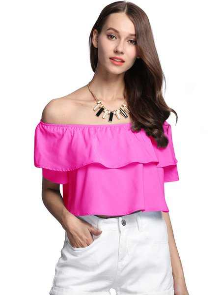 Fuchsia Ruffled Girly Off Shoulder Crop Top