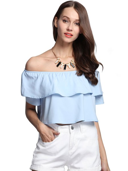 Ruffled Girly Off Shoulder Solid Crop Top