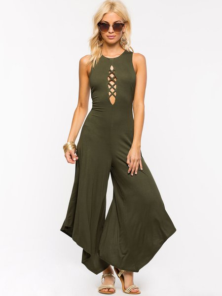 Simple Casual Crew Neck Cutout Jumpsuit