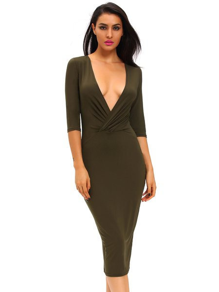 Plunging Two-way Sexy Bodycon 3/4 Sleeve Dress