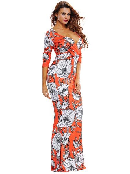 Orange Mermaid 3/4 Sleeve Floral-print Maxi Dress - JustFashionNow.com