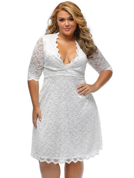 White Scalloped Trim Plunging Neck Lace Dress