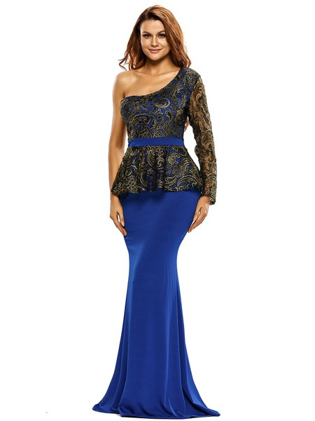 Blue Embroidered Long Sleeve One Shoulder Mermaid Dress ...