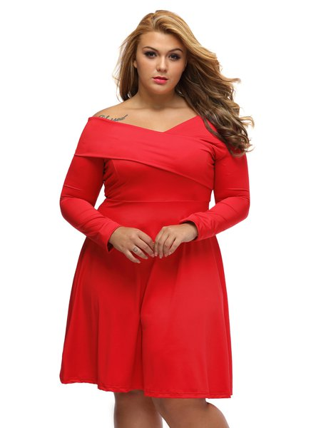 Red V Neck Elegant Asymmetric Long Sleeve Dress