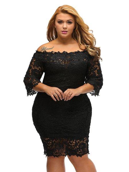 Black Guipure Lace Off Shoulder 3/4 Sleeve Sheath Dress
