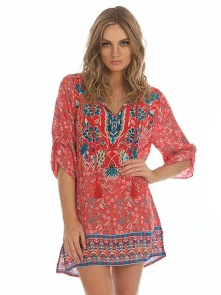 Floral-print V Neck Vintage 3/4 Sleeve Casual Dress