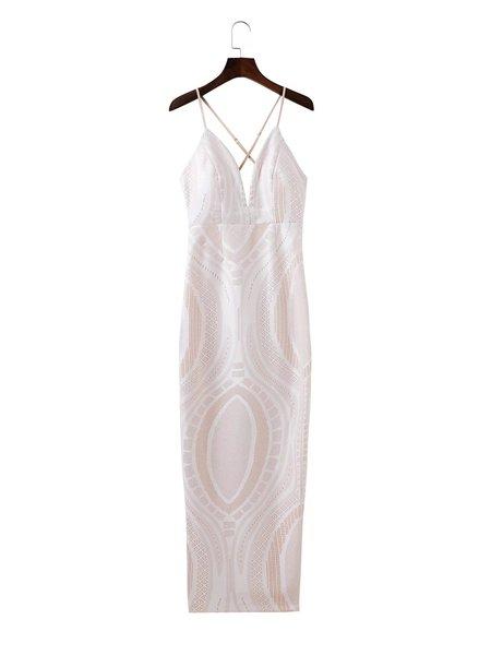 Beige Spaghetti Solid Plunging Neck Slit Bodycon Club Maxi Dress
