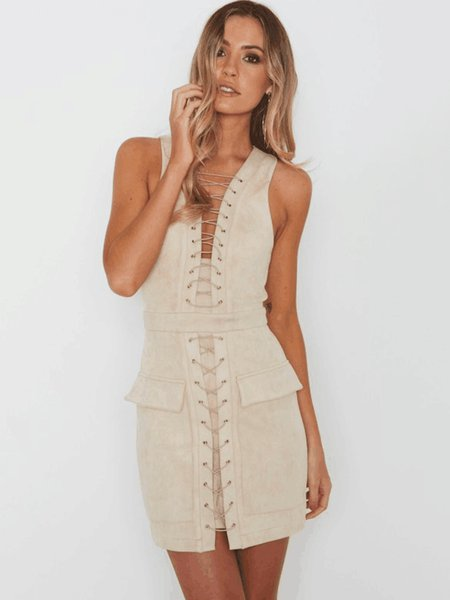 Sleeveless Bodycon Solid Lace Up Sexy Club Mini Dress