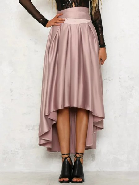 Bow Folds Girly High Low Maxi Skirt