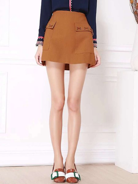 A-line Casual Solid Lace Up Mini Skirt