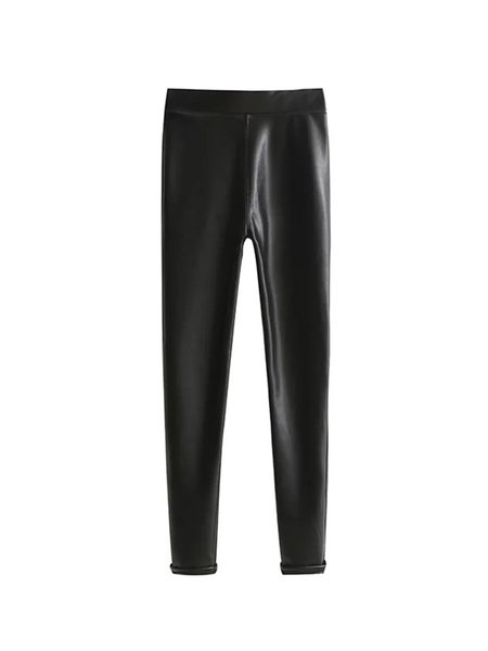 Black Faux Leather Casual Leggings