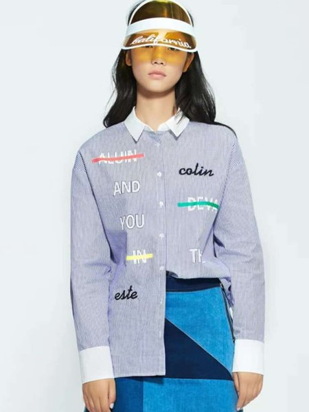 Stripes H-line Embroidered Letter Long Sleeve Casual Blouse
