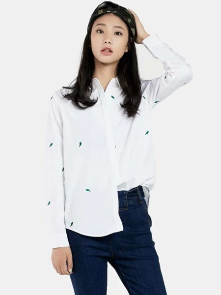 White Embroidered Curve Hem Long Sleeve Shirt