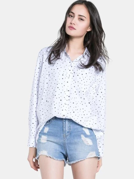 Star Printed Shirt Collar Casual Long Sleeve Blouse