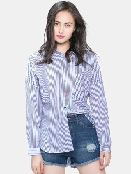 Shirt Collar Cutout Long Sleeve Casual H-line Stripes Blouse