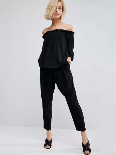Shirred H-line Frill Sleeve Off Shoulder Casual Top