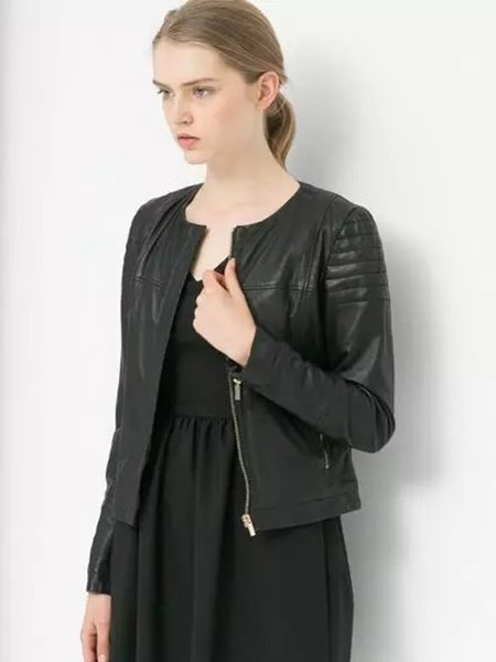 Black Zipper Solid PU Crew Neck Long Sleeve Jacket