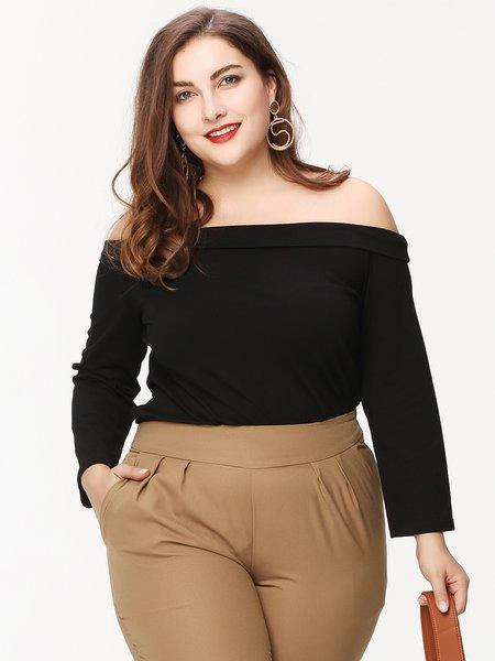 Black Long Sleeve Solid Off Shoulder Top