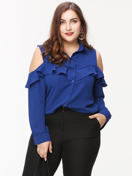 Blue Cold Sholder Ruffled Shirt