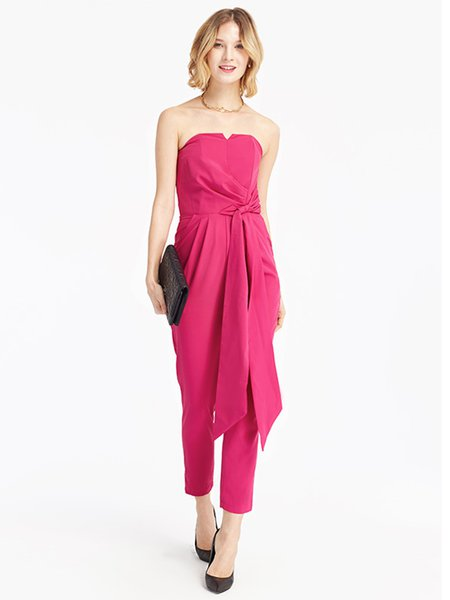 Fuchsia Knotted Solid Strapless Pockets Jumpsuit