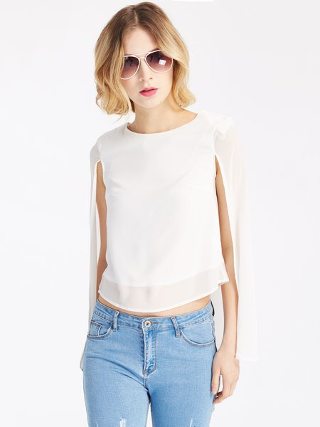 White Solid Asymmetric Cape Sleeve Blouse