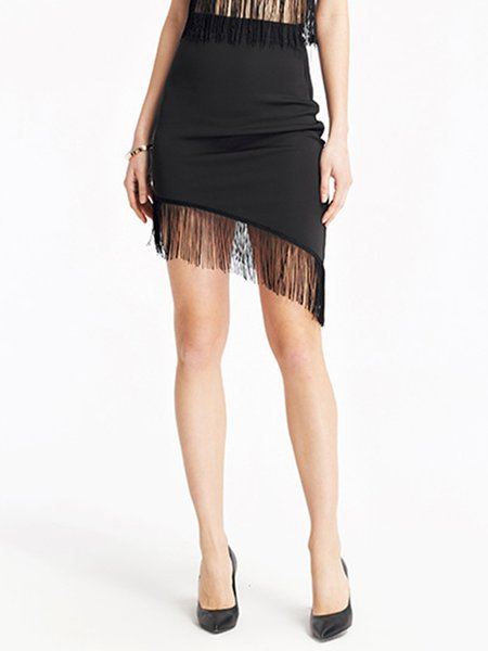 Black Fringed Asymmetrical Polyester Solid Skirt