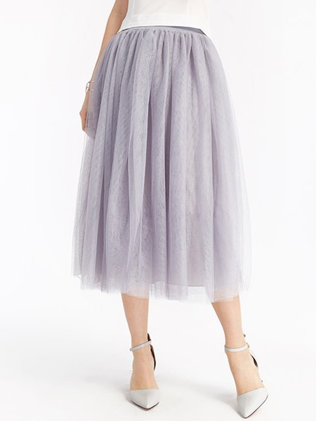 Gray Tiered Mesh Solid Girly Swing Skirt