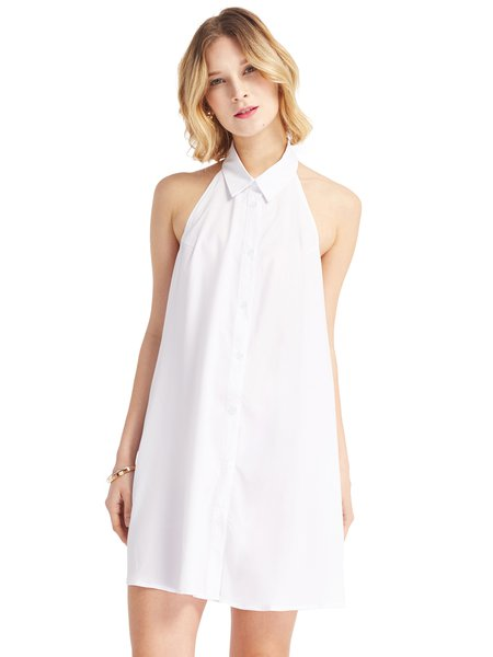 White Pockets Solid Halter Cutout Back Dress