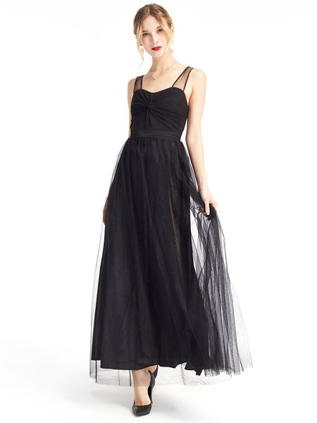 Black Folds Sleeveless Solid Swing Evening Dress