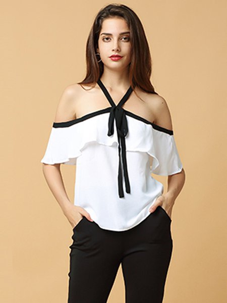 White Bow Girly Ruffled Off Shoulder Top